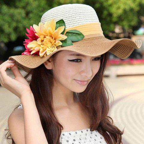 Chic Faux Flower and Leaf Embellished Wavy Brim Sun Hat For Women