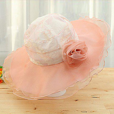 Chic Yarn Flower and Yarn Brim Design Women's Sun Hat - PINK