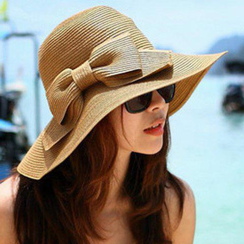 Chic Weaving Bowknot Embellished Women's Sun Hat - LIGHT COFFEE