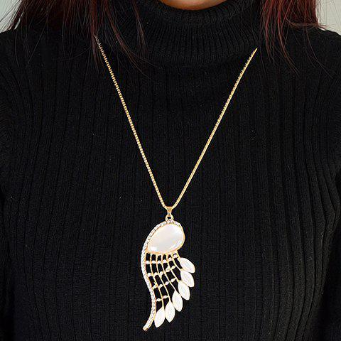 Stylish Cute Women's Beads Faux Opal Wing Sweater Chain Necklace - WHITE