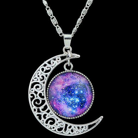 Fake Gemstone Moon Round Pendant Necklace - PURPLE