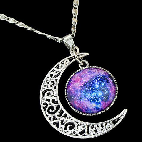 Sweet Delicate Women's Faux Gem Moon Round Pendant Necklace
