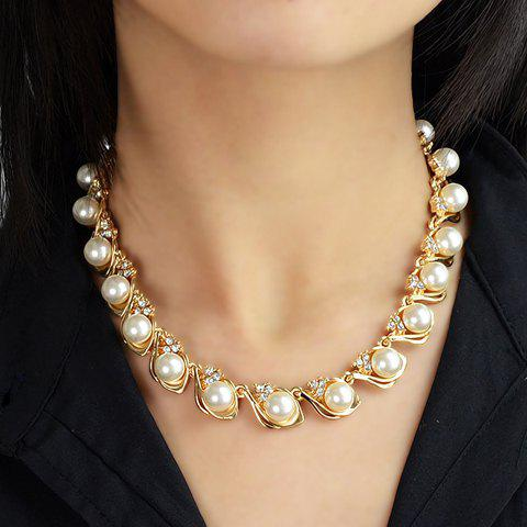 Delicate Cute Women's Rhinestone Faux Pearl Decorated Necklace - WHITE
