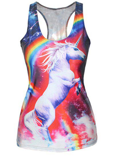 Stylish Sleeveless Scoop Collar Horse Print Women's Tank Top - RED/WHITE ONE SIZE(FIT SIZE XS TO M)