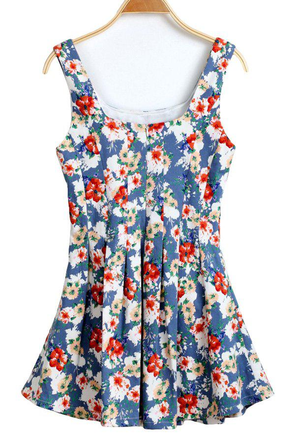 Casual Style U-Neck Floral Print Ruffle Sleeveless Dress For Women - LIGHT BLUE XL