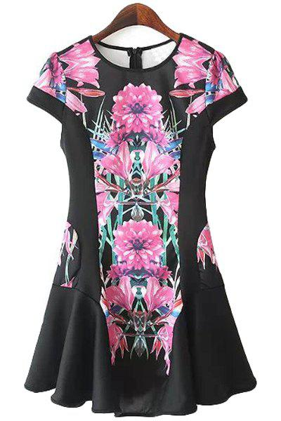 Stylish Jewel Neck Short Sleeve Floral Print Flouncing Women's Dress - BLACK M