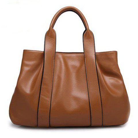 Gorgeous PU Leather and Solid Color Design Simple Tote Bag For Women - BROWN