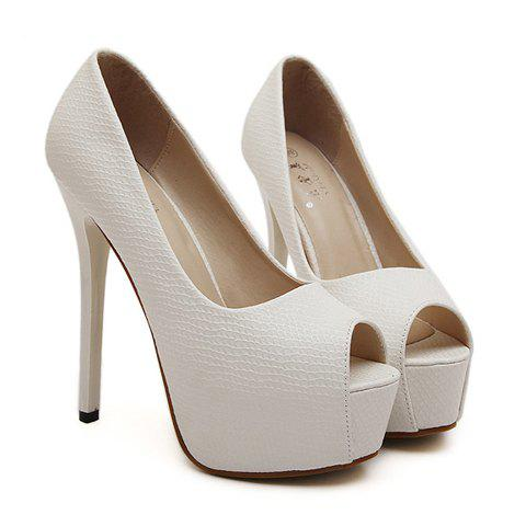Sexy Stiletto Heel and Embossing Design Women's Peep Toed Shoes - WHITE 39