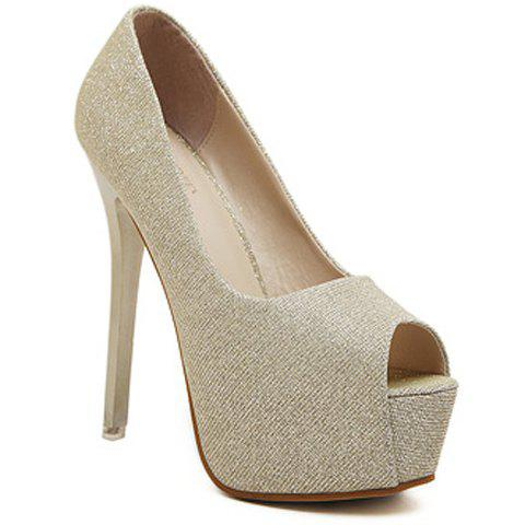 Sexy Platform and Bling-Bling Design Women's Peep Toed Shoes - GOLDEN 38