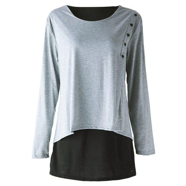 Elegant Long Sleeve Scoop Neck Faux Twinset Design T-Shirt For Women