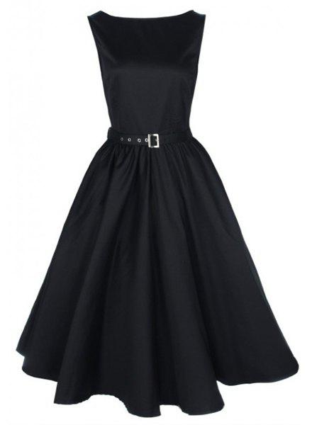Vintage Women's Boat Neck Solid Color Sleeveless Dress - BLACK M