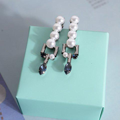 Pair of Stylish Chic Women's Faux Pearl And Crystal Drop Shape Design Earrings - GUN METAL