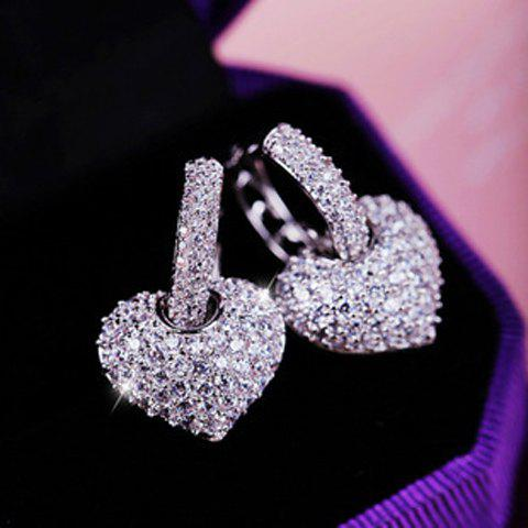 Pair of Gorgeous Women's Rhinestone Heart Earrings - WHITE