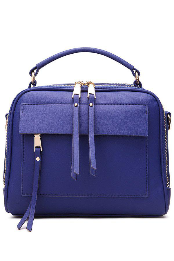 Stylish PU Leather and Tassels Design Women's Tote Bag - BLUE
