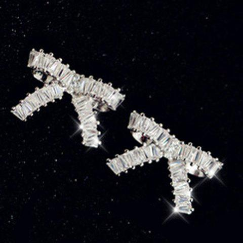Pair of Simple Chic Women's Rhinestone Bowknot Shape Earrings - WHITE
