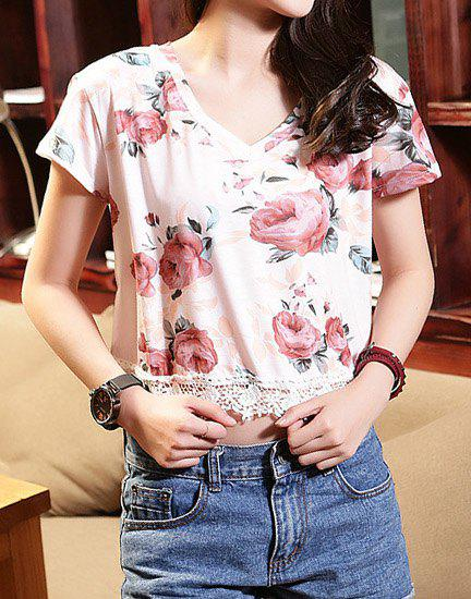 Stylish Floral Print V-Neck Laced Short Sleeve T-Shirt For Women - COLORMIX ONE SIZE(FIT SIZE XS TO M)