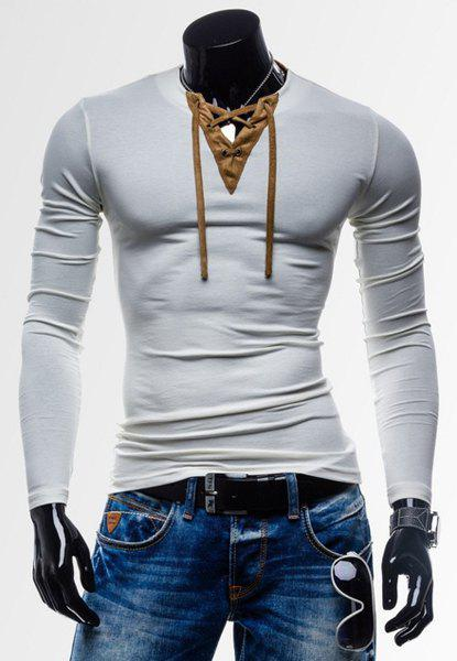 Laconic Personality Color Block V-Neck Slimming Long Sleeves Men's Cotton Blend T-Shirt - WHITE M