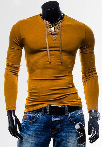 Laconic Personality Color Block V-Neck Slimming Long Sleeves Men's Cotton Blend T-Shirt - YELLOW XL