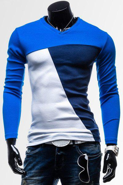Classic Color Splicing V-Neck Slimming Long Sleeves Men's Cotton Blend T-Shirt