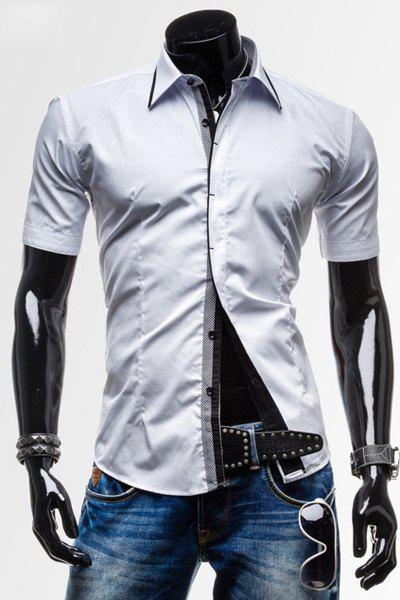 Classic Button Fly Turn-down Collar Slimming Short Sleeves Men's Polyester Shirt - WHITE L
