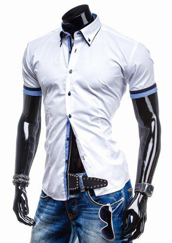 Slimming Turn-down Collar Houndstooth Print Color Block Button Fly Short Sleeves Men's Shirt - BLUE/WHITE XL