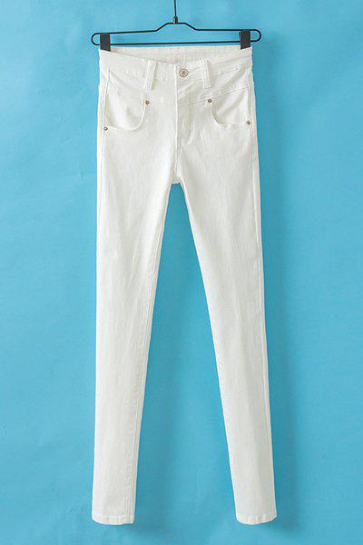 Stylish Solid Color Button Fly High-Waisted Pants For Women - WHITE 25