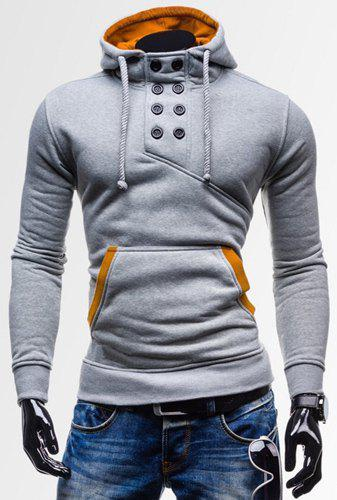 Novel Double-Breasted Embellished Hooded Color Splicing Slimming Long Sleeves Men's Hoodie - LIGHT GRAY L
