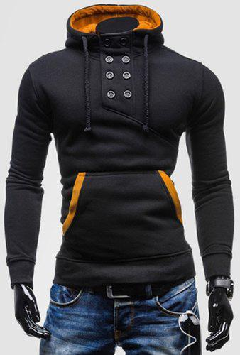 Novel Double-Breasted Embellished Hooded Color Splicing Slimming Long Sleeves Men's Hoodie - BLACK XL