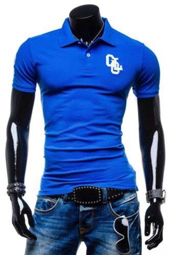 Fashion Turn-down Collar Embroidery Slimming Solid Color Short Sleeves Men's Polo T-Shirt - BLUE XL