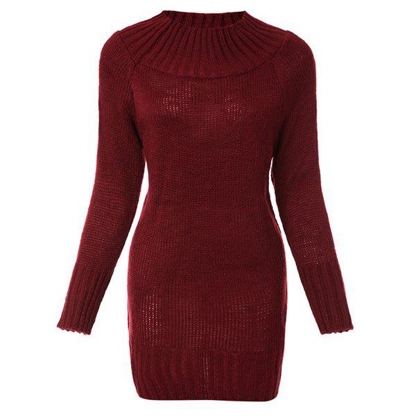 Stylish Women's Round Neck Long Sleeves Solid Color Dress - WINE RED ONE SIZE