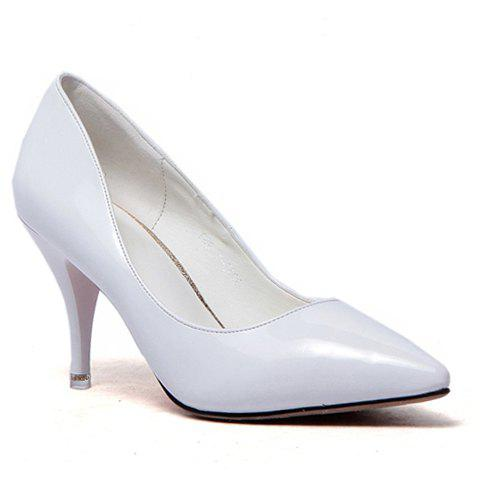 Graceful Patent Leather and Pointed Toe Design Solid Color Women's Pumps - WHITE 39