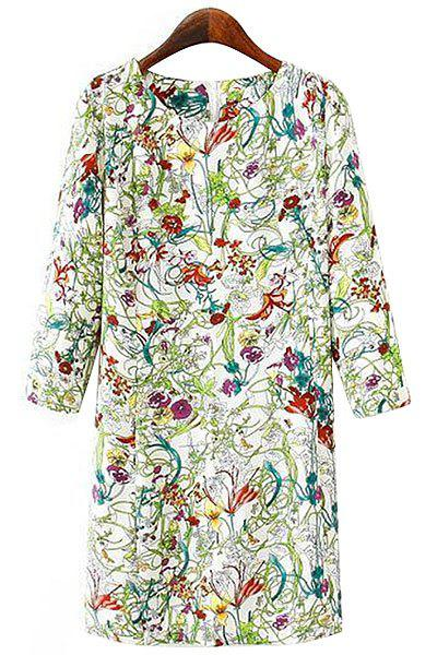 Élégant Scoop Neck manches 3/4 imprimé floral Dress - Céladon S