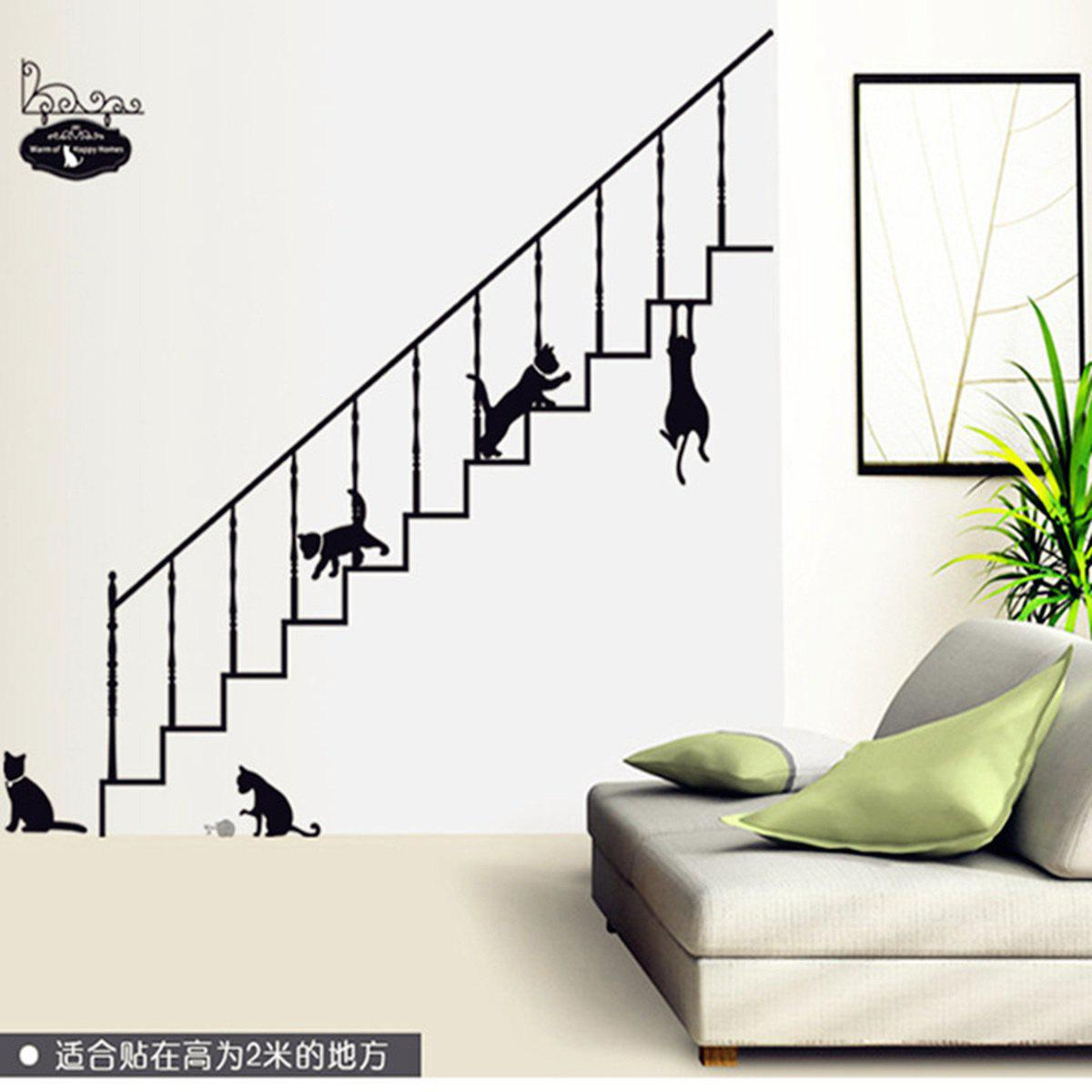 Stairs and Kitty Style Wall Sticker Home Appliances Decor Wall Decals sea wave stairs sticker 6pcs