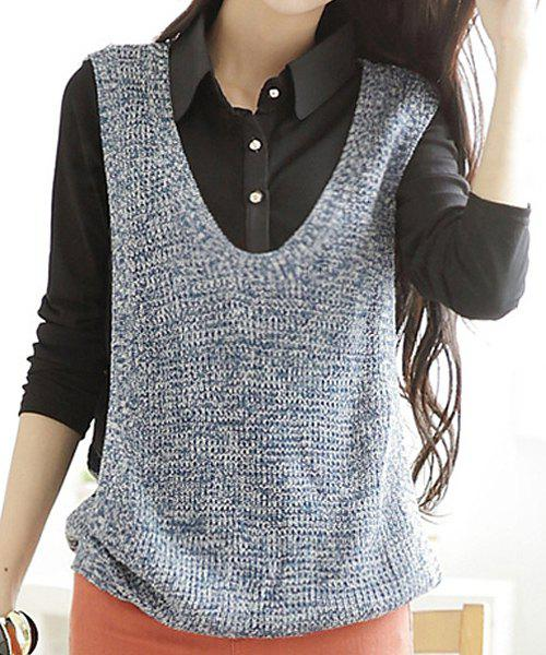 Casual Polo Collar Loose Long Sleeve Faux Twinset Sweater For Women - BLUE/BLACK M