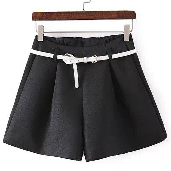 Stylish Pure Color Zipper Fly Shorts with Belt For Women - BLACK M