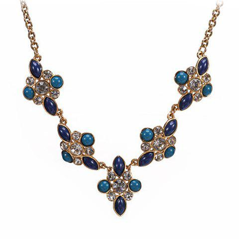 Stylish Chic Women's Faux Gem Floral Necklace - AS THE PICTURE