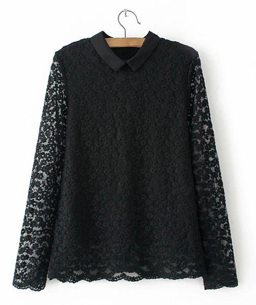 Sweet Pure Color Flat Collar Lace Long Sleeve Blouse For Women - BLACK M