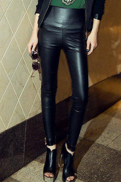 Modern Style Solid Color PU Leather High Elasticity Women's Cheap Pants - BLACK ONE SIZE