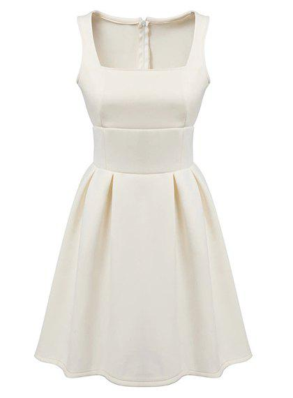 Stylish Candy Color Square Collar Sleeveless Dress For Women - WHITE L