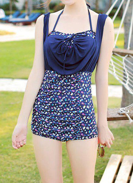 Trendy Halter Tiny Floral Print Spliced Two-Piece Women's Swimsuit - PURPLISH BLUE XL