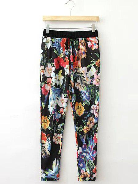 Bohemian Floral Print Lace-Up Capri Pants For Women - COLORMIX L