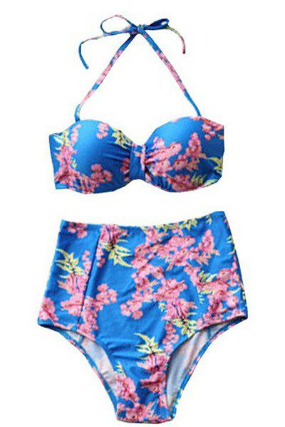 Sexy Strapless High Waist Floral Print Two-Piece Swimsuit For Women - AS THE PICTURE M