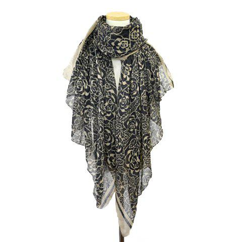 Chic Hand-Painted Flower Pattern Color Block Women's Scarf - BLACK