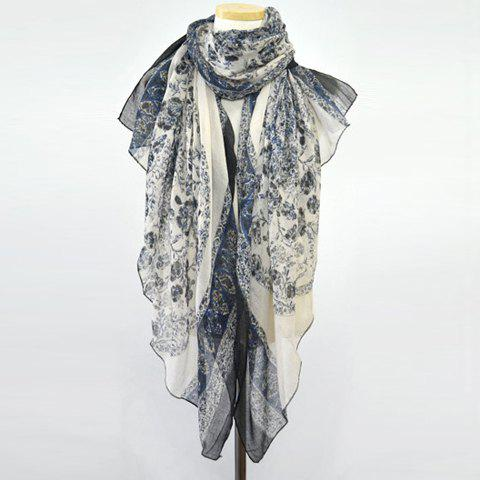 Ethnic Style Tiny Flower Print Color Block Women's Scarf - BLUE