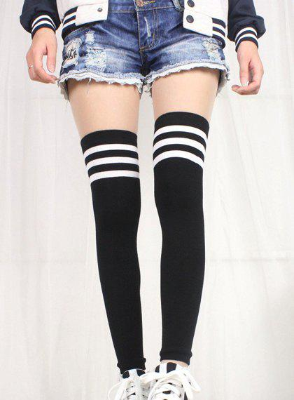 Pair of College Style Stripe Pattern Color Block Women's Leg Warmers - BLACK