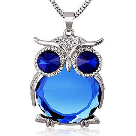 Fake Crystal Night Owl Pendant Sweater Chain - SAPPHIRE BLUE