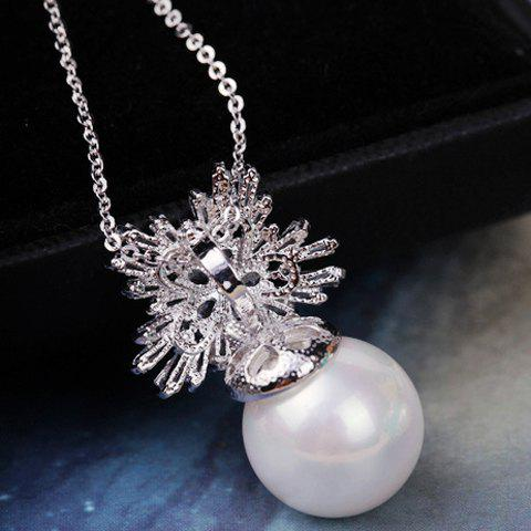 Cute Women's Rhinestone Faux Pearl Snow Flake Pendant Necklace - AS THE PICTURE