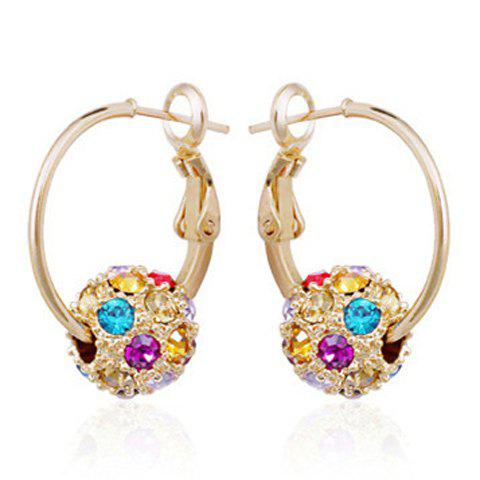 Pair of Round Rhinestoned Ball Earrings - COLORMIX