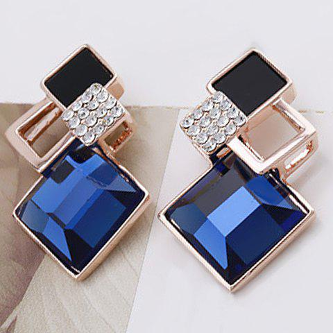 Pair of Faux Crystal Square Openwork Earrings - BLUE