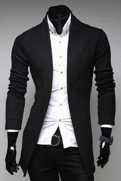 Laconic Collarless Solid Color Slimming Knitting Jacquard Long Sleeves Men's Cardigan - BLACK 2XL
